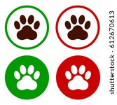 paw print in a green and red... | Shutterstock .eps vector #612670613