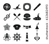 nautical icons set. simple... | Shutterstock .eps vector #612682493
