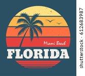 florida miami beach tee print | Shutterstock .eps vector #612683987