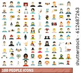 100 people icons set in flat...   Shutterstock .eps vector #612687263