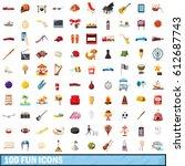 100 fun icons set. cartoon... | Shutterstock .eps vector #612687743