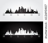 moscow skyline and landmarks... | Shutterstock .eps vector #612693407