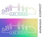 las vegas skyline. colorful...   Shutterstock .eps vector #612694157