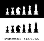 set of chess pieces on white... | Shutterstock .eps vector #612712427