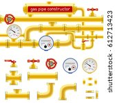 yellow pipe set constructor... | Shutterstock .eps vector #612713423