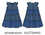 summer denim dress | Shutterstock .eps vector #612726443