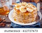 breakfast oatmeal pancakes with ...   Shutterstock . vector #612727673
