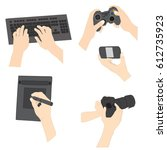 set  of human hands holding...   Shutterstock .eps vector #612735923