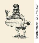 surfer with a beard  a mustache ... | Shutterstock .eps vector #612743567