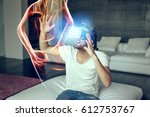 young man with vr headset... | Shutterstock . vector #612753767