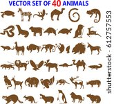 animals silhouettes | Shutterstock .eps vector #612757553