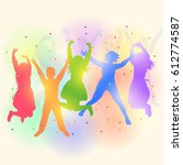 colorful silhouettes of happy... | Shutterstock .eps vector #612774587