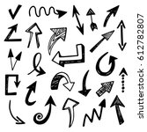 hand drawn arrows set  isolated ... | Shutterstock . vector #612782807