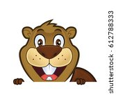 beaver holding and looking over ... | Shutterstock .eps vector #612788333