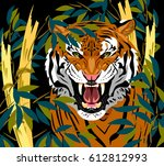 a grinning tiger in the bamboo... | Shutterstock .eps vector #612812993