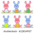 happy bunny juggling easter eggs | Shutterstock .eps vector #612814937