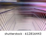 supermarket aisle with empty... | Shutterstock . vector #612816443
