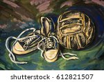 sneakers and old soccer ball.... | Shutterstock . vector #612821507
