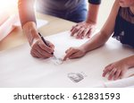 designer hand drawing sketch... | Shutterstock . vector #612831593