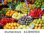fresh and ripe exotic fruits on ... | Shutterstock . vector #612840503