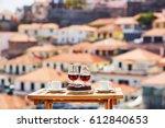 two glasses of madeira wine ... | Shutterstock . vector #612840653