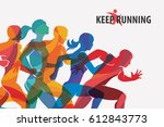 running people set of... | Shutterstock .eps vector #612843773