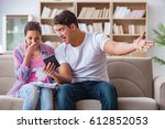 young family discussing family... | Shutterstock . vector #612852053