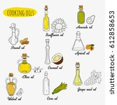 9 isolated doodle cooking oils. ... | Shutterstock .eps vector #612858653