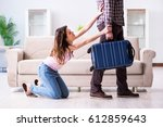 young family in broken... | Shutterstock . vector #612859643