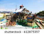 Small photo of BARCELONA, SPAIN - AUGUST 30, 2014: Laberint Pitara attraction at Illa Fantasia Water Park in summer