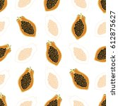 tropical pattern with papaya... | Shutterstock .eps vector #612875627