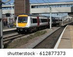 Small photo of March 2017: Peterborough, UK. Greater Anglia service provider introduces new scheme for its trains with Turbostar unit 170270 the first to receive the new livery about to leave Peterborough