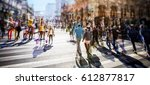busy pedestrian crossing over... | Shutterstock . vector #612877817
