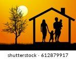 family house silhouette vector | Shutterstock .eps vector #612879917