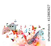 colorful music notes with... | Shutterstock .eps vector #612882827