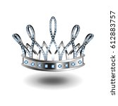 beauty queen silver crown... | Shutterstock .eps vector #612883757