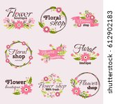 bright sign flower shop vector... | Shutterstock .eps vector #612902183