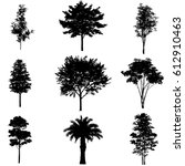 vector set of tree silhouettes  ... | Shutterstock .eps vector #612910463