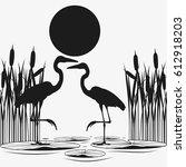 Herons Couple Black Silhouette...