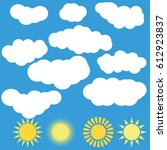 cloud and sun vector icon set... | Shutterstock .eps vector #612923837