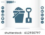children bucket with sand and... | Shutterstock .eps vector #612930797