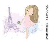 Stock vector cute little girl in paris card 612930923