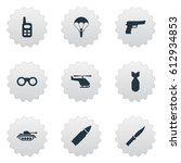 set of 9 simple terror icons.... | Shutterstock . vector #612934853