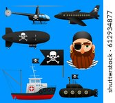 collection of pirate transport  ... | Shutterstock .eps vector #612934877