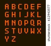 english alphabet in pixel style ... | Shutterstock .eps vector #612943577