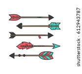 creative vintage arrow set.... | Shutterstock .eps vector #612943787