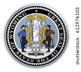 badge us state seal wyoming  3d ... | Shutterstock . vector #612976103