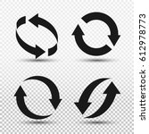 rotation arrows icon set.... | Shutterstock .eps vector #612978773