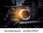 close up cnc milling machine... | Shutterstock . vector #613012907