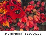 Pile Of The Red Tulips On A...